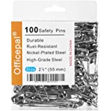 """Officepal 100 PCS Large 2.2"""" 55mm Size 4 Safety Pins, – Heavy Duty, High-Grade Steel, Rust-Resistant Nickel Plated Steel…"""