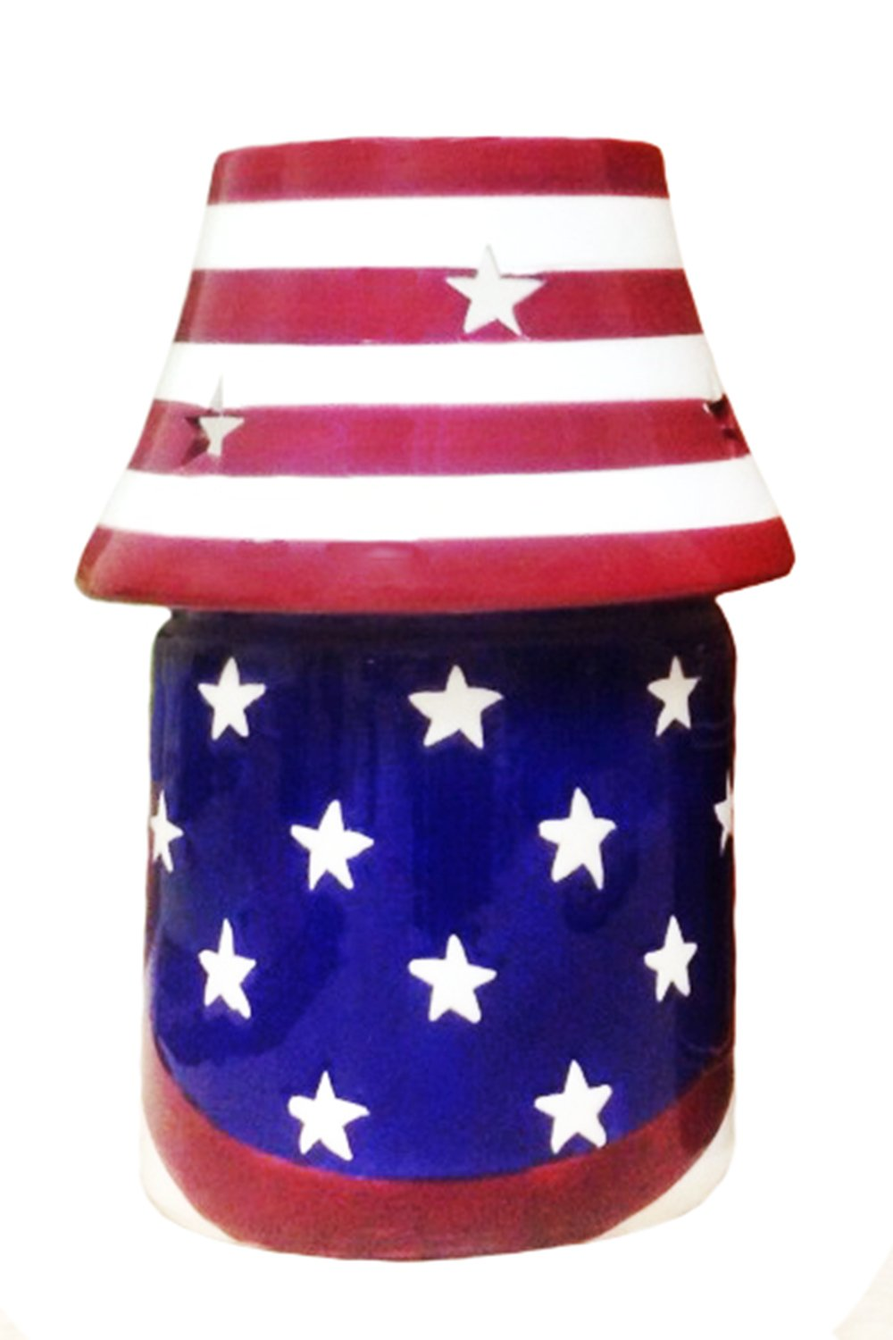 American Flag, Hand Painted Ceramic, Candle Jar Holder with Shade, 87941 By ACK by ACK