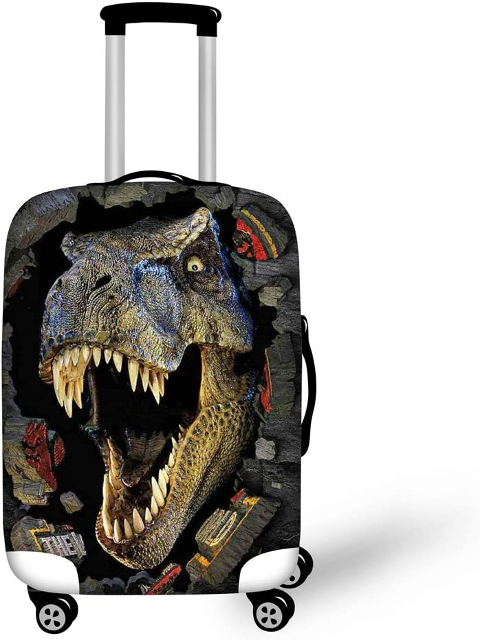 HUGS IDEA Cool 3D Animals Dinosaur Luggage Trolley Case Protective Cover for 26/28/30 Inch Suitcase