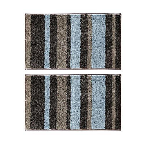 InterDesign Stripz Non-Slip Microfiber Polyester Bathroom, Shower, Tub or Vanity Accent Rug - Pack of 2, Mocha/Gray, Medium - Set of 2