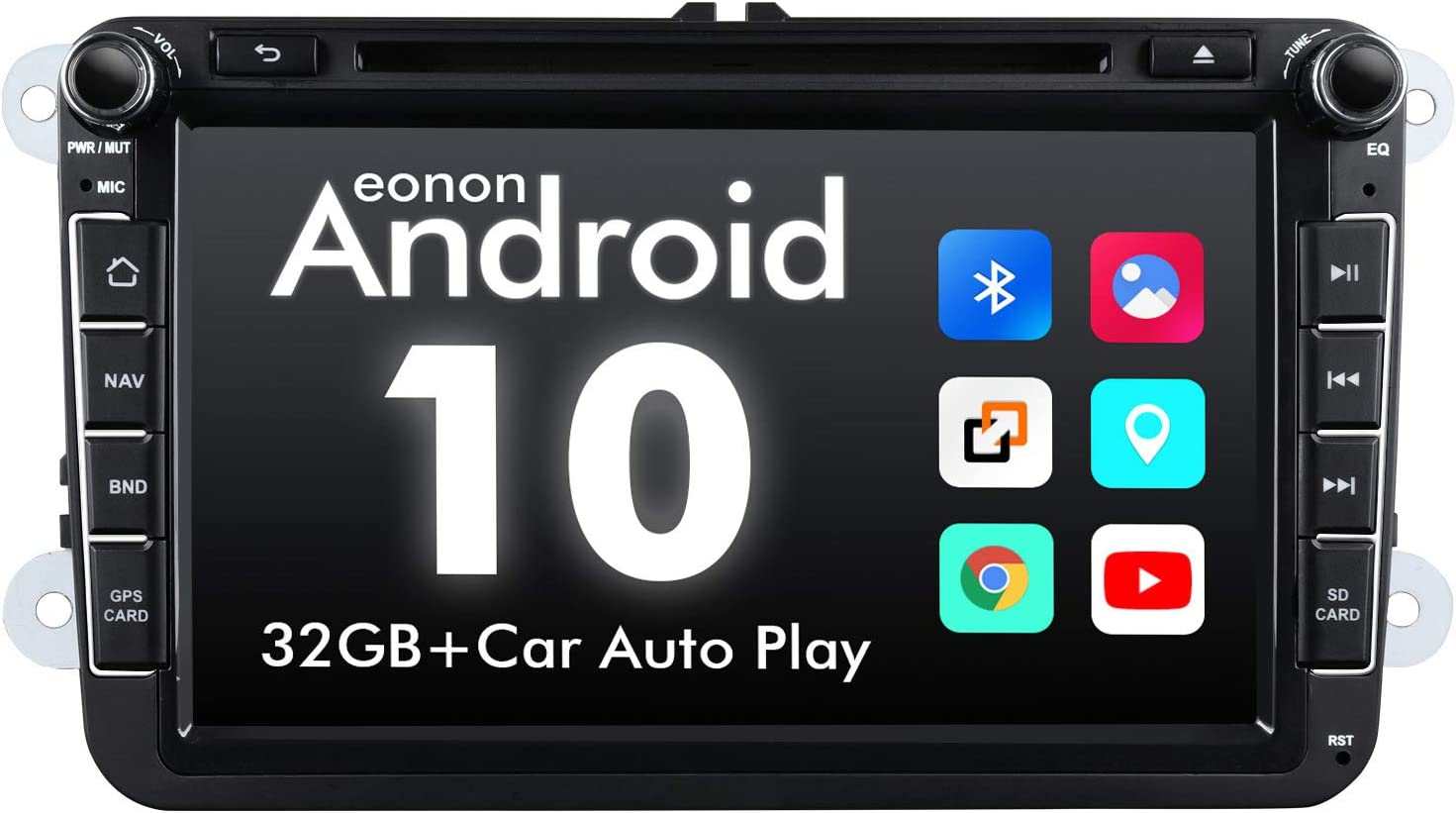 2020 Newest Android Car Stereo Android 10 Double Din, Eonon Car Radio for Volkswagen/SEAT/Skoda Compatible with Fender System Support Apple Carplay/Android Auto/Bluetooth/WiFi/Fast Boot-8 Inch-GA9453