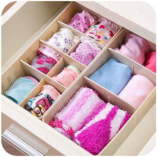 4 Sets Adjustable Drawer Dividers Junk Drawer Organizer Jewelry Socks Underware Containers Khaki