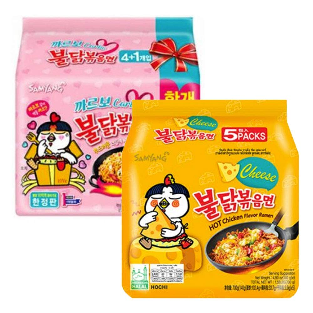 Fusion Select, Samyang Chicken Fried Noodles 10 Packs 5x Carbo 5x Cheese Hot, 1 Count