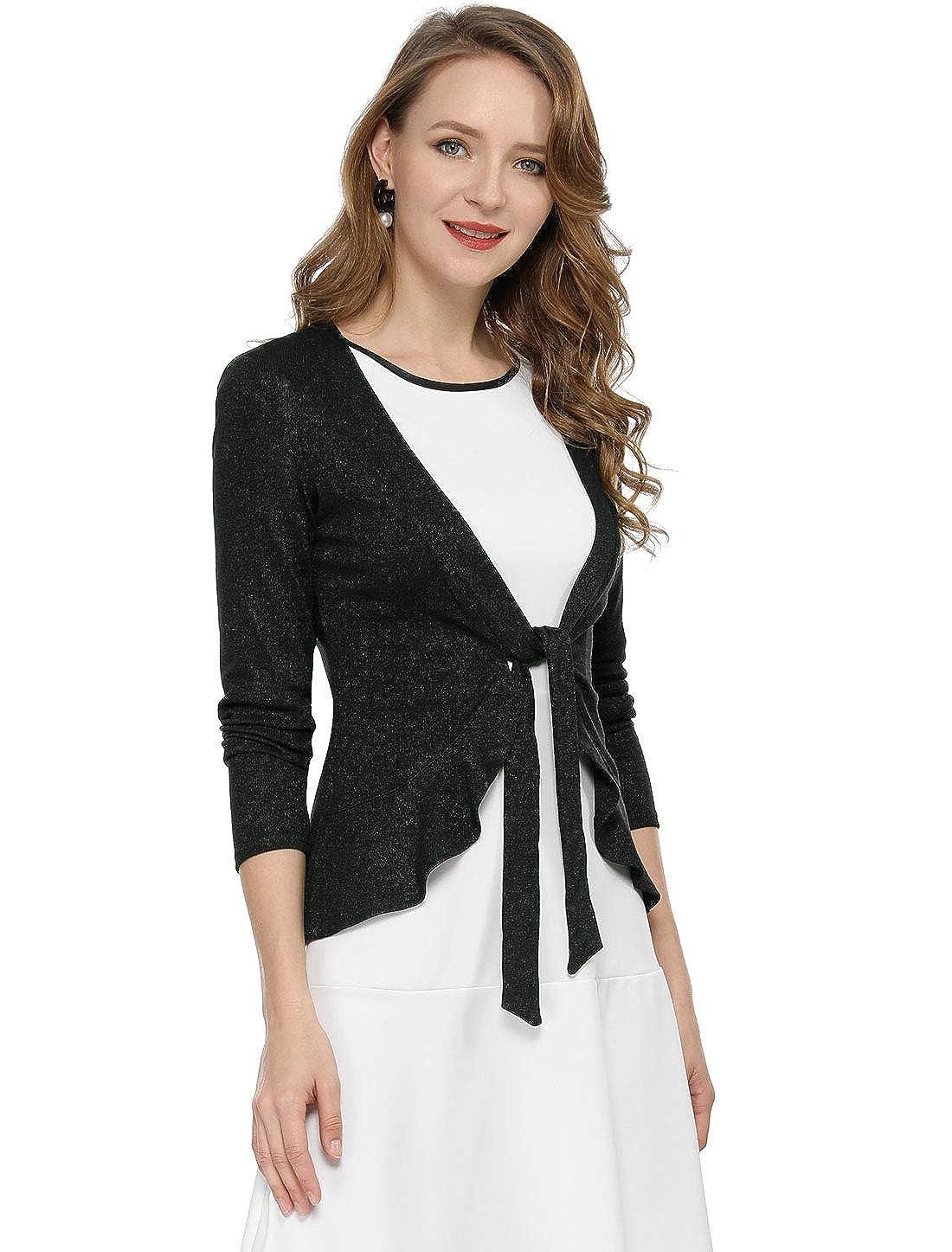 Allegra K Womens Tie Front Ruffled Hem Crop Knit Cardigan Jackets