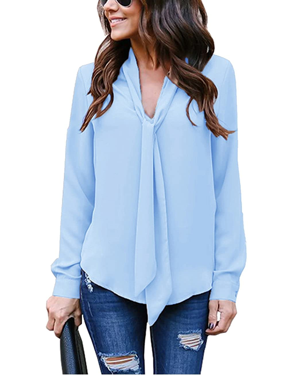 Flying Rabbit Women's Cuffed Long Sleeve Casual V Neck Chiffon Blouses Tops Tie