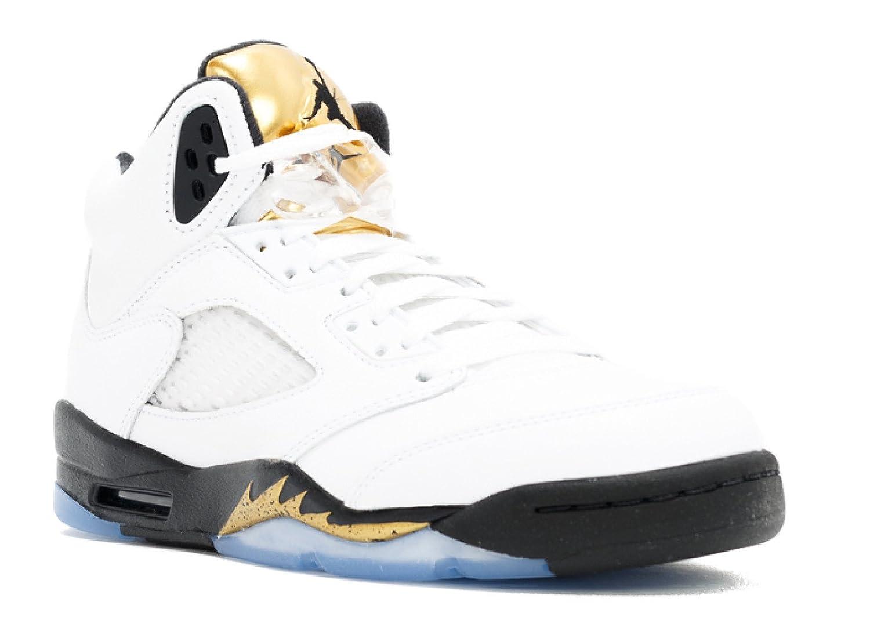 more photos 27700 4438b Amazon.com   Nike Boys Air Jordan 5 Retro BG Olympic Gold White Black-Gold  Leather Size 5Y   Fashion Sneakers