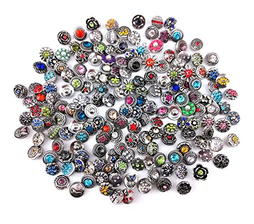 Honbay 20pcs 7/16 Inch Assorted Rhinestone Snaps Chunk Press Buttons for Snap Ginger Jewelry Making]()
