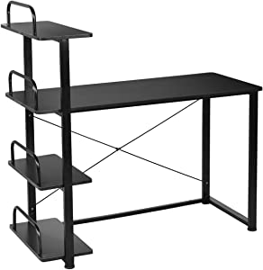 Tangkula Computer Desk with 4 Tier Shelves, Home Office Desk, Study Writing Desk, Space Saving Computer Workstation, Gaming Desk (Black)
