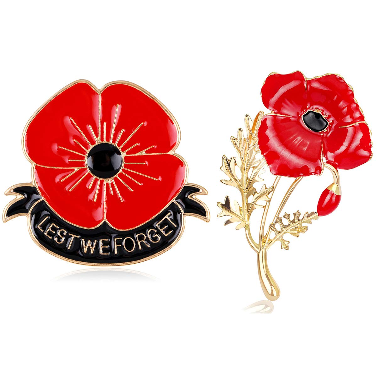 Blinst 2 Pcs Lest We Forget Poppy Brooch Pin Flower Broach Memorial Day Remembrance Day