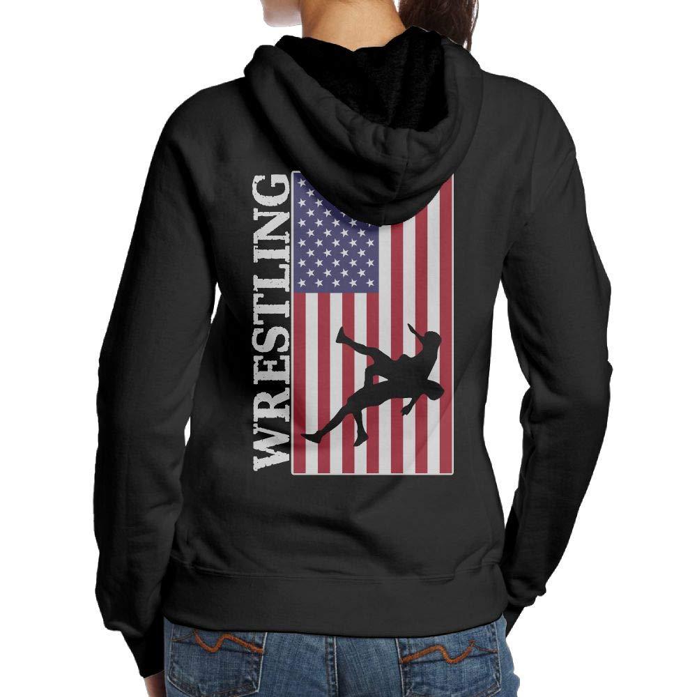 BB&YYY USA Flag Wrestling Womens Pullover Hoodie Sweatshirt Back Print Hoodies