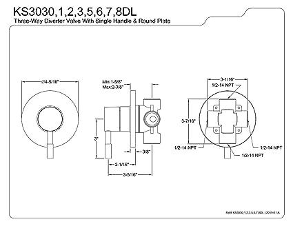 Kingston Brass Ks3038dl Concord Single Handle Three Way Diverter Valve With Trim Kit Brushed Nickel Bathtub Faucets Bathroom Fixtures