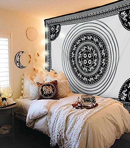Tapestry Wall Tapestry Wall Hanging Tapestries Elephant Tapestry Indian Hippie Mandala Tapestry Boho Tapestry Large Black White Tapestries Hippie Elephant Mandala Bedspread Wall Art Bohemian Tapestry (Tapestry Wall Hanging Shop)