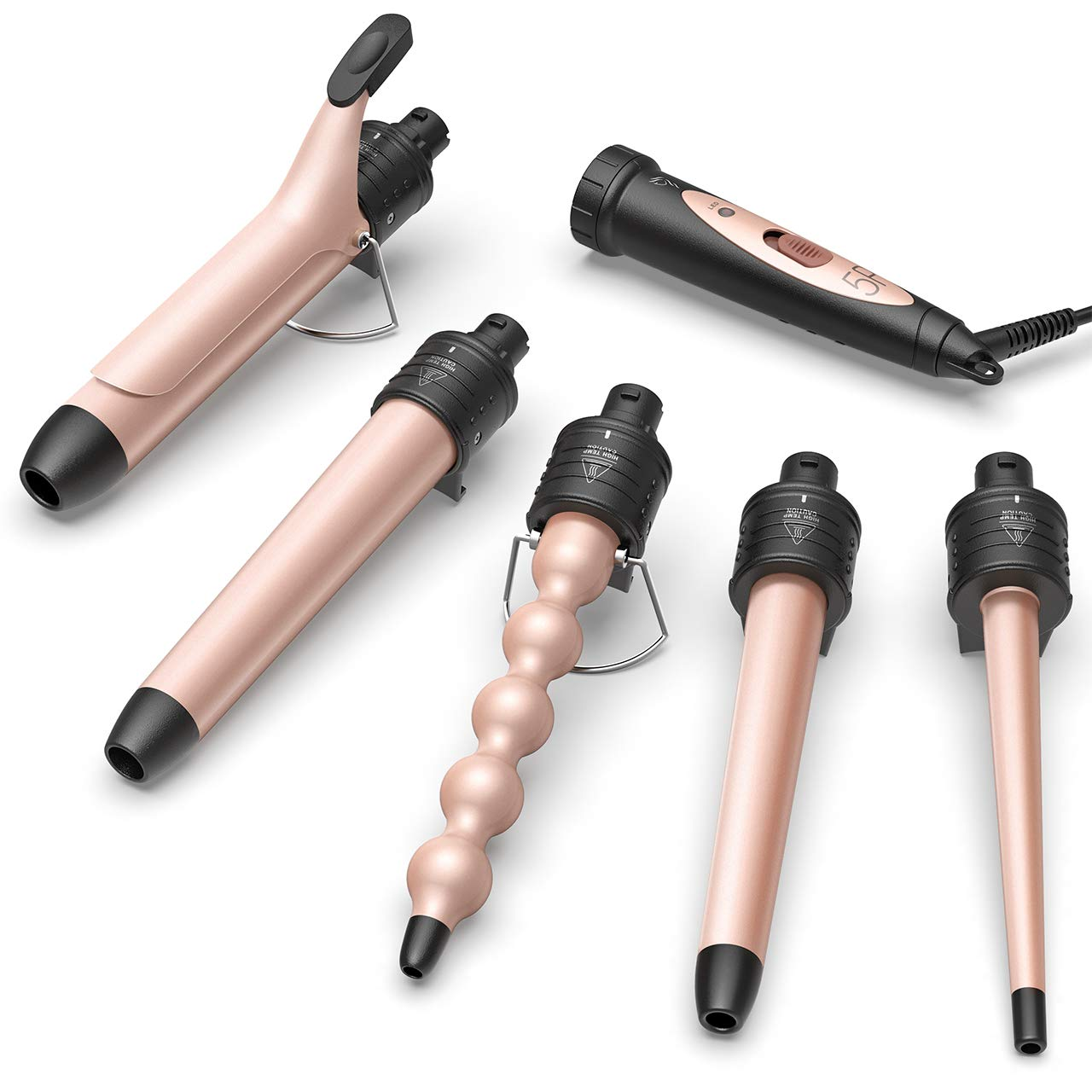 Homitt 5 in 1 Wand Curling Iron Set with 5 pcs Interchangeable Curling Iron Ceramic Barrels, Ceramic Curling Wand for Beach Loose Wavy with Heat Resistant Glove and Hairpin-Rose Gold