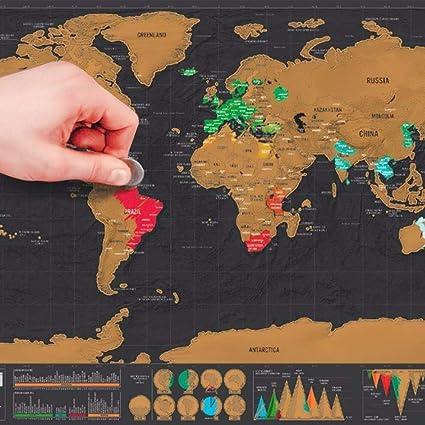 Amazon.com : Mini Black Deluxe Travel Se World Map Poster ... on