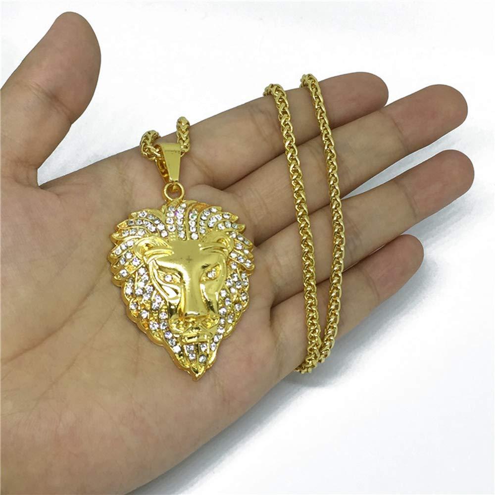 KEUOD Lion Head Shape Street Dance Pendant DJ Retro Electroplated Gold Necklace Men and Women Show Hip Hop Pendant Necklace Bar