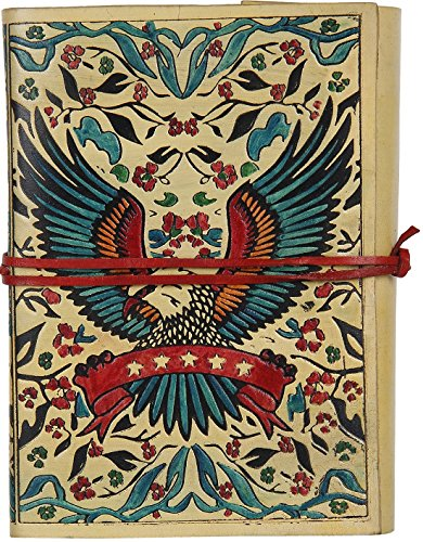 RUSTIC TOWN Handmade Vintage Antique Looking Genuine Leather Journal Diary Notebook for Men Women Brown Gift for Him Her (Eagle)