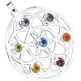 Anhänger / Amulett 7 Chakra BLUME DES LEBENS Silber - Meditation - Yoga - Spiritualität - Esoterik - Astrologie - Heilige Geometrie - Reiki - Balancing - Heilung