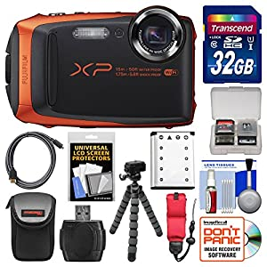 Fujifilm FinePix XP90 Shock & Waterproof Wi-Fi Digital Camera (Orange) with 32GB Card + Case + Flex Tripod + Battery + Float Strap + Kit
