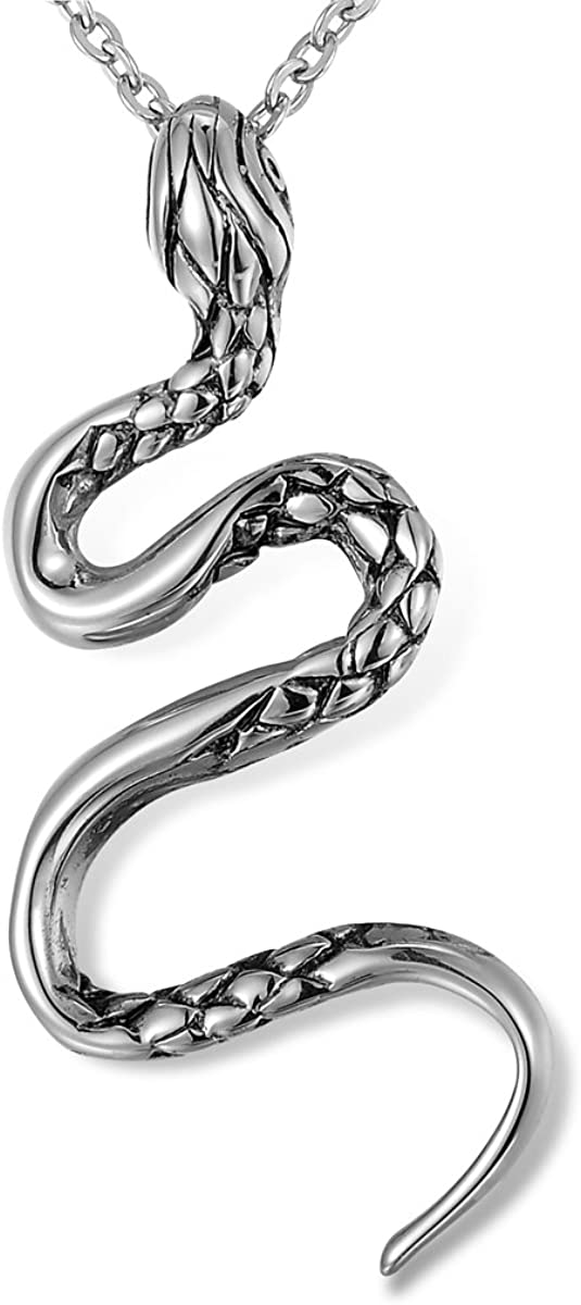 VALYRIA Gothic Jewelry Men's Stainless Steel Animal Snake Pendant Chain Necklace (Snake)