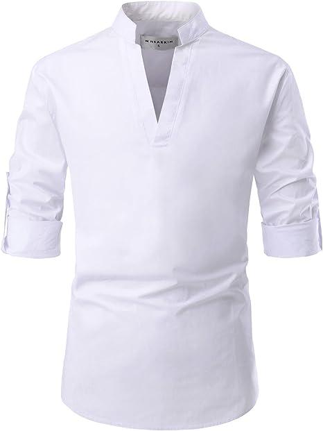 Amazon.com: NEARKIN Camisas de algodón sin botones, cuello ...