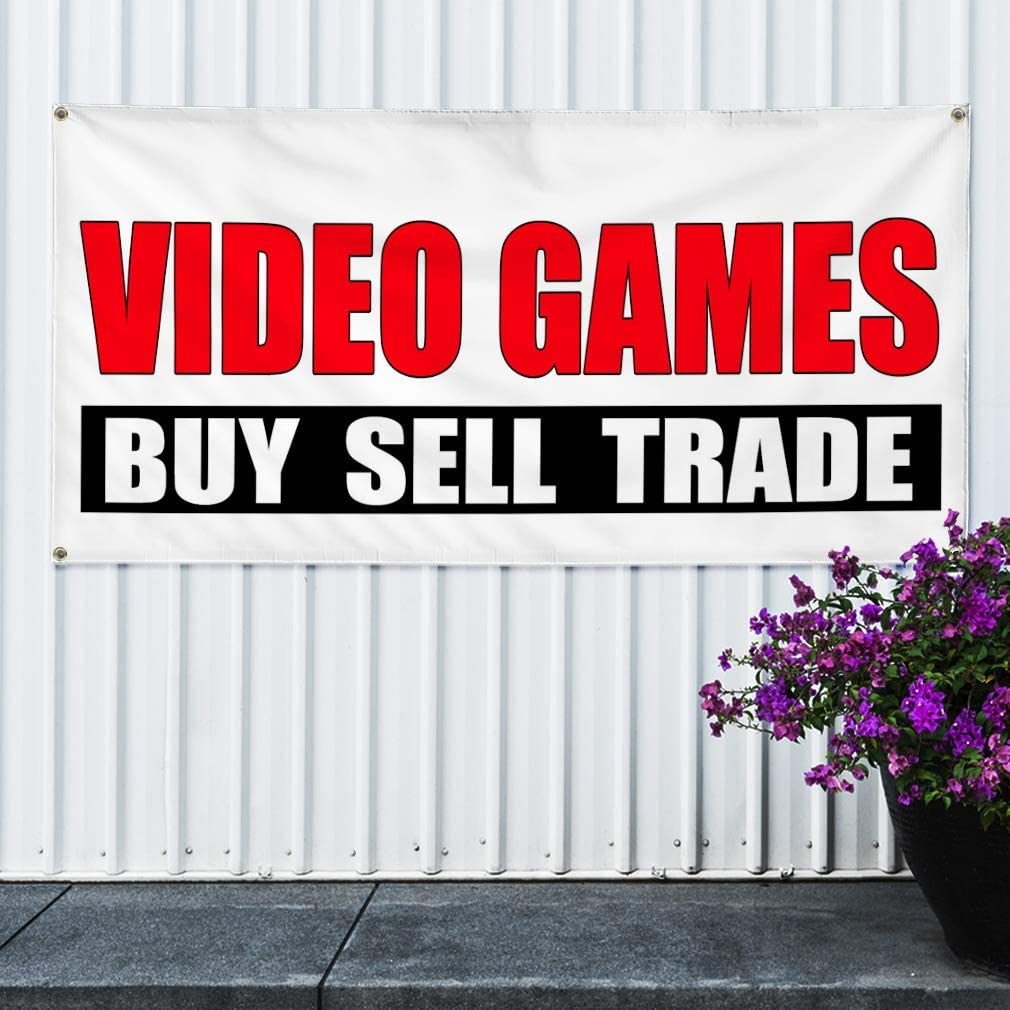 44inx110in Multiple Sizes Available One Banner 8 Grommets Vinyl Banner Sign Video Games Buy Sell Trade White Hobbies Marketing Advertising Red