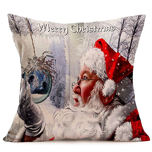 MObast Best Cushion Covers Merry Christmas Linen Santa Pillow Cases Sofa...