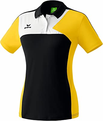 erima Mujeres Premium Camisa Un Polo Negro/Amarillo/Blanco ...