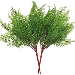 CATTREE Artificial Shrubs Bushes, Plastic Fern Leaves Persian Grass Fake Plants Wedding Indoor Outdoor Home Garden Verandah Kitchen Office Table Centerpieces Arrangements Christmas Decoration 2 pcs