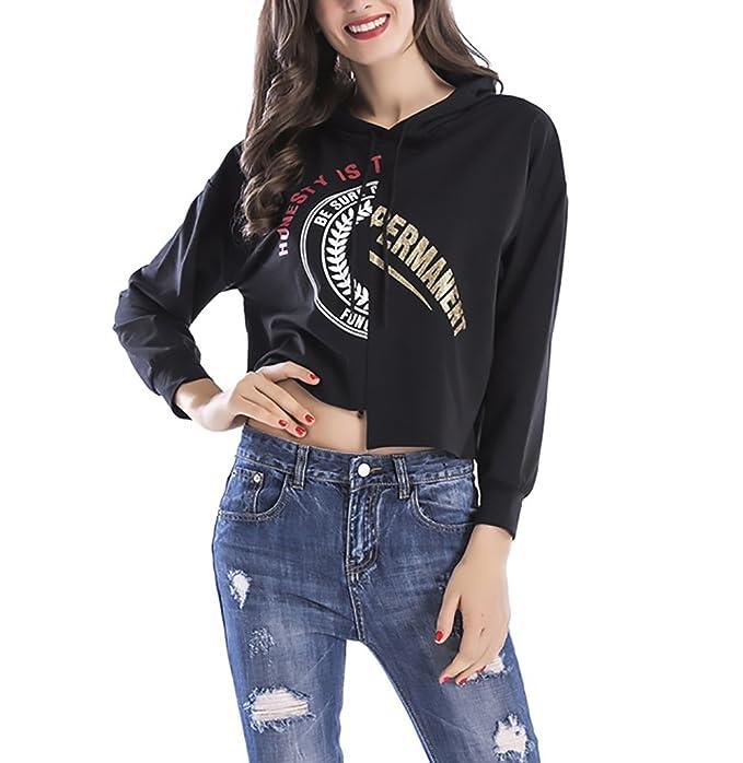 ... Anchas Niñas Ropa Hoodies Camisetas Otoño Chica Elegantes Manga Larga Casual Hipster Tumblr Sweatshirts Crop Tops: Amazon.es: Ropa y accesorios