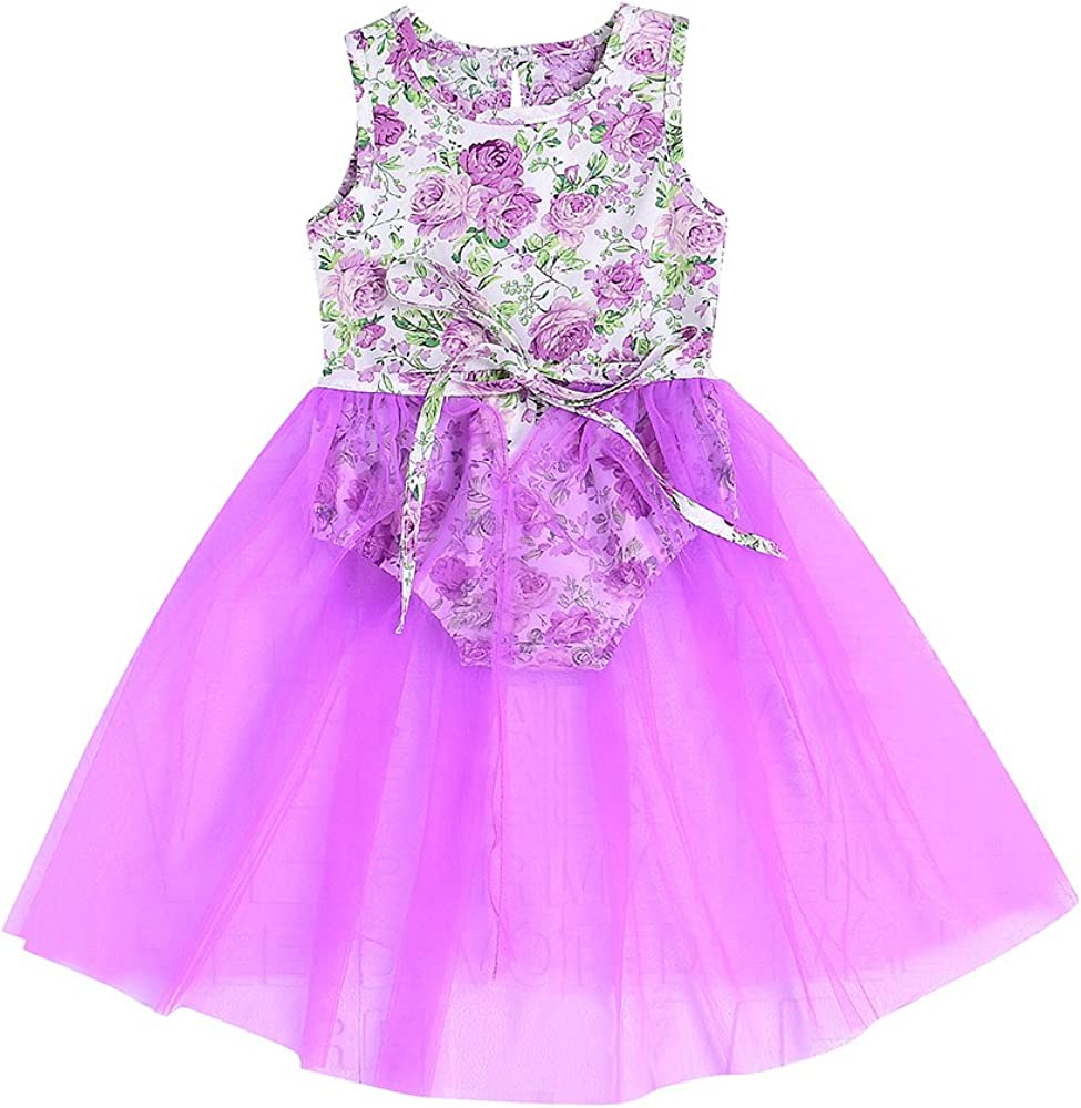 Purple, 3-6Month AILOM Newborn Baby Girls Sleeveless Floral Romper Dress Jumpsuit Lace Tutu Mesh Princess Summer Playsuit