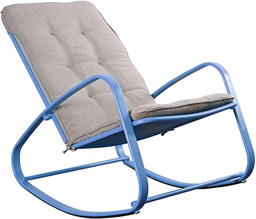 eclife Patio Rocking Chair Outdoor Padded Steel Rocker Chairs Removable Cushion Blue