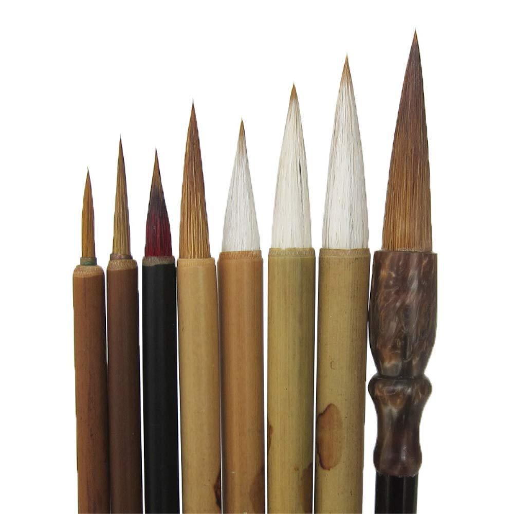 Shanlian Hubi Claborate-Style Painting Writing Brush Watercolor Chinese Calligraphy Brush Set Kanji Japanese Sumi Painting Drawing Brushes 8 Piece/Set+Roll-up Bamboo Brush Holder by Uigerl