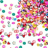piece Mudder 1500 Pieces Fruit Slices Fruit Nail Art Slice Decorations Clay 3D Assorted Fruit Flower Slice