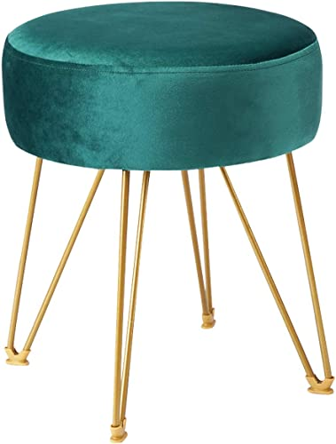ERONE Footstool Ottoman North European Round Dressing Stool with Gold Metal Legs Upholstered Footrest,Makeup Chair for Kitchen Bedroom Living Room Green