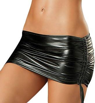 VANKER Caliente Mini Falda Mujer Lingerie Sexy Faux Cuero Con ...
