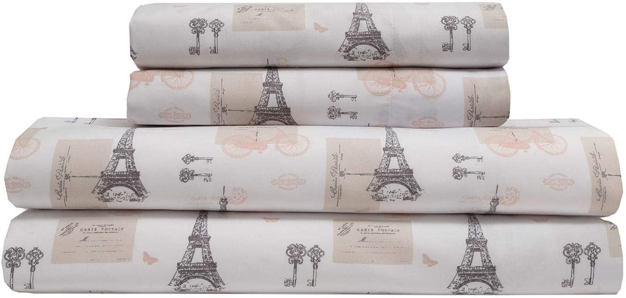 Elite Home Products Microfiber 90 GSM Whimsical Printed Deep-Pocketed Sheet Set, Paris Postale, Queen