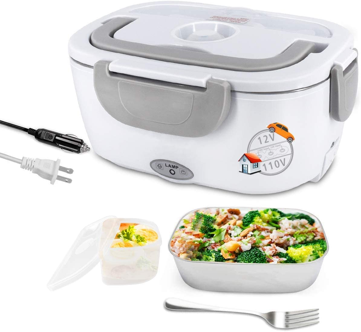 12V & 110V Portable Food Warmer 1.5L Electric Lunch Box with Detachable Stainless Steel Food Container Food Heater Warmer Electric Heat Box for Home & Car to Use (Gray)