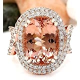Sumanee Luxury Women 18K Rose Gold Filled Morganite Wedding Engagement Gift Ring Jewelry (7)