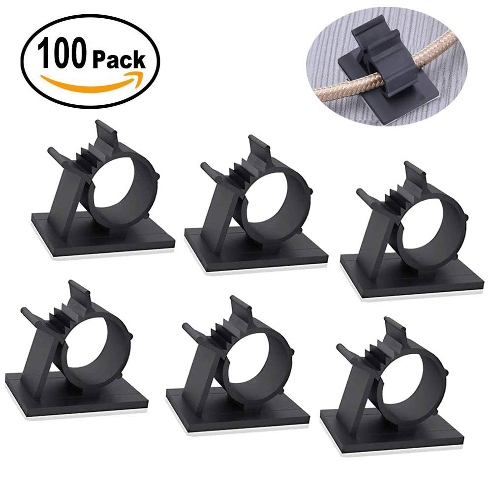 Cable Management Clips Nylon Wire Clamps Wire Cable Holder for Car Adjustable Car Cable Organizer 100PCS Cable Wire Clips Cable Clips Premium Adhesive Cable Clips Office and Home