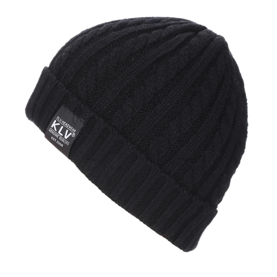 Hmlai Knit Hat, Men Women Baggy Warm Crochet Winter Wool Knit Ski Beanie Skull Slouchy Caps Hat (Black)