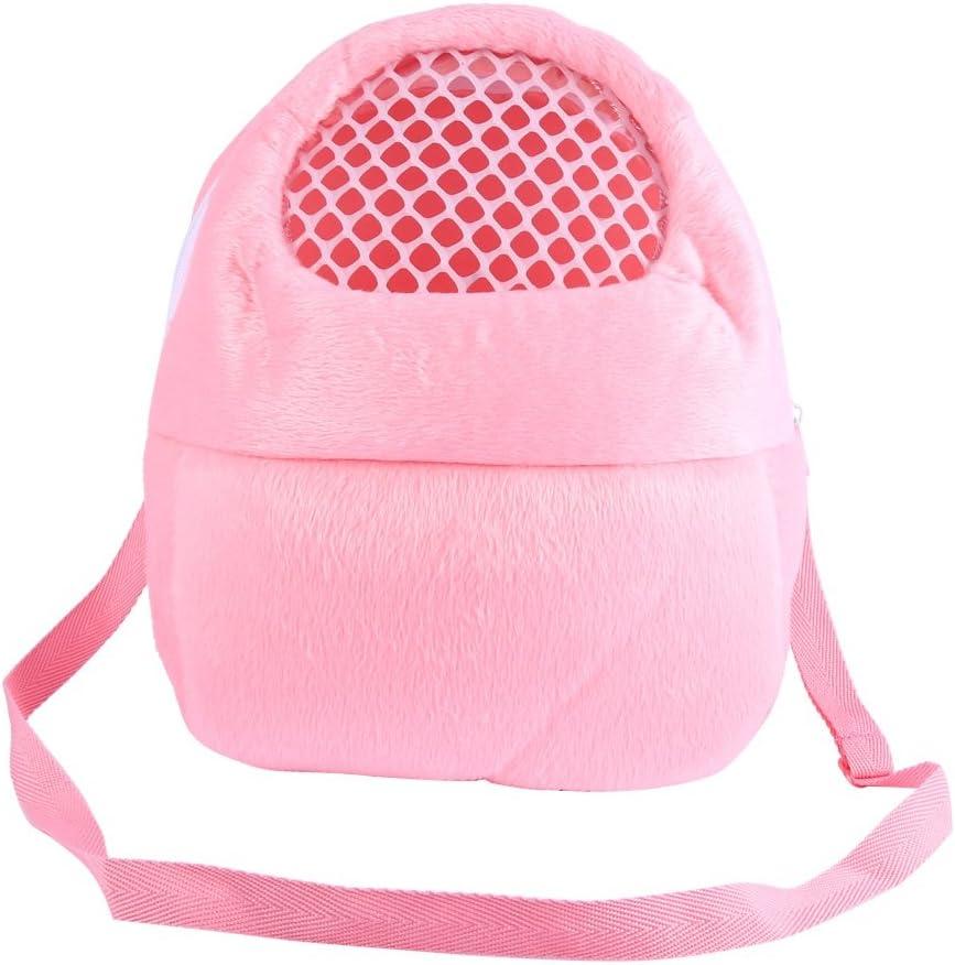 Bolsas de transporte para mascotas Hamster Rata Erizo Saco de dormir Transpirable portátil de salida de viajes Bolsos Mochila con correa de hombro ( Color : Pink )