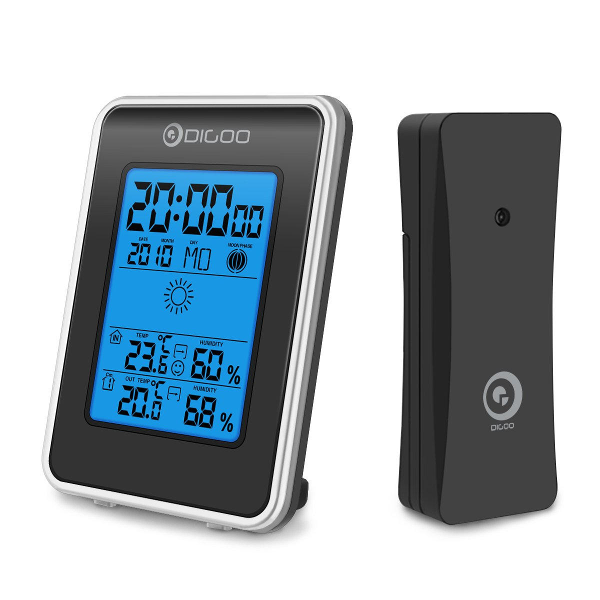DIGOO TH1981 Indoor&Outdoor Thermometer, Weather Station Blue Backlit Hygrometer, Outdoor Forecast Sensor with Alarm Clock by DIGOO