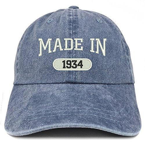 Trendy Apparel Shop Made In 1934 Embroidered 84th Birthday Washed Baseball Cap - Navy