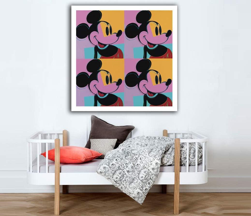 Desconocido Cuadro Lienzo Mickey Mouse Andy Warhol – Varias Medidas - Lienzo de Tela Bastidor de Madera de 3 cm - Impresion Alta resolucion (60, 60)