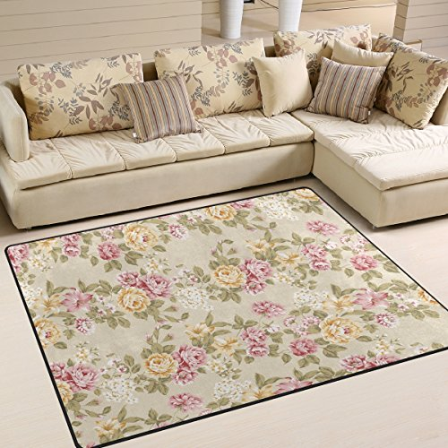 ALAZA Vintage Shabby Chic Floral Area Rug Rugs for Living Room Bedroom 7'x5'