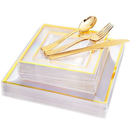 "IOOOOO 120 Pieces Gold Plastic Square Plates with Disposable Silverware, Premiun Heavyweight Clear Dinnerware Include: 24 Dinner Plates 9.5"", 24 Dessert Plates 7"", 24 Forks, 24 Knives, 24 Spoons"