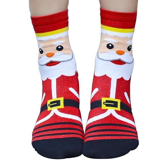 VJGOAL Moda casual de Navidad Calcetines de algodón con estampado de dibujos animados en 3D Calcetines