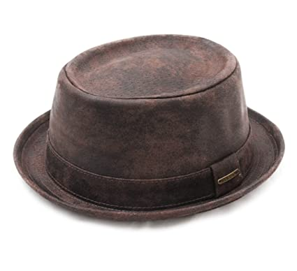 Stetson Pork Pie Pig Skin Leather Pork Pie Hat Size M at Amazon ... 20f669f5f47