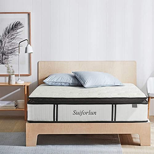 Suiforlun Queen Mattress 12 Inch Luxury Pillow Top Hybrid Mattre