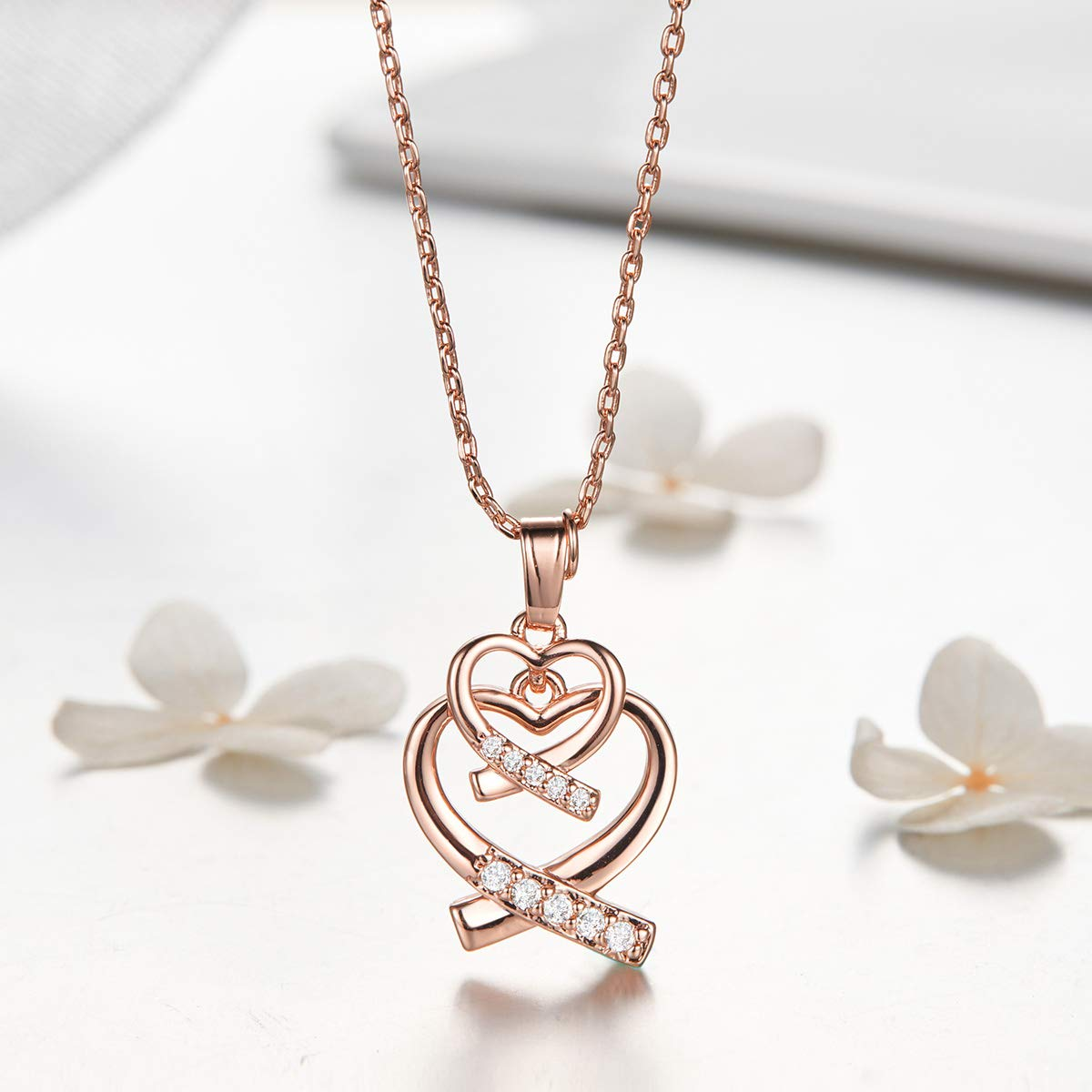 WOSTU 14K Rose Gold Plated Cubic Zirconia Pandant Necklace Love Heart to Heart Double Heart Necklace for Women